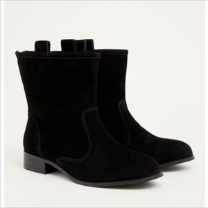 Torrid Collection Suede Leather Pull Tab Moto Boot